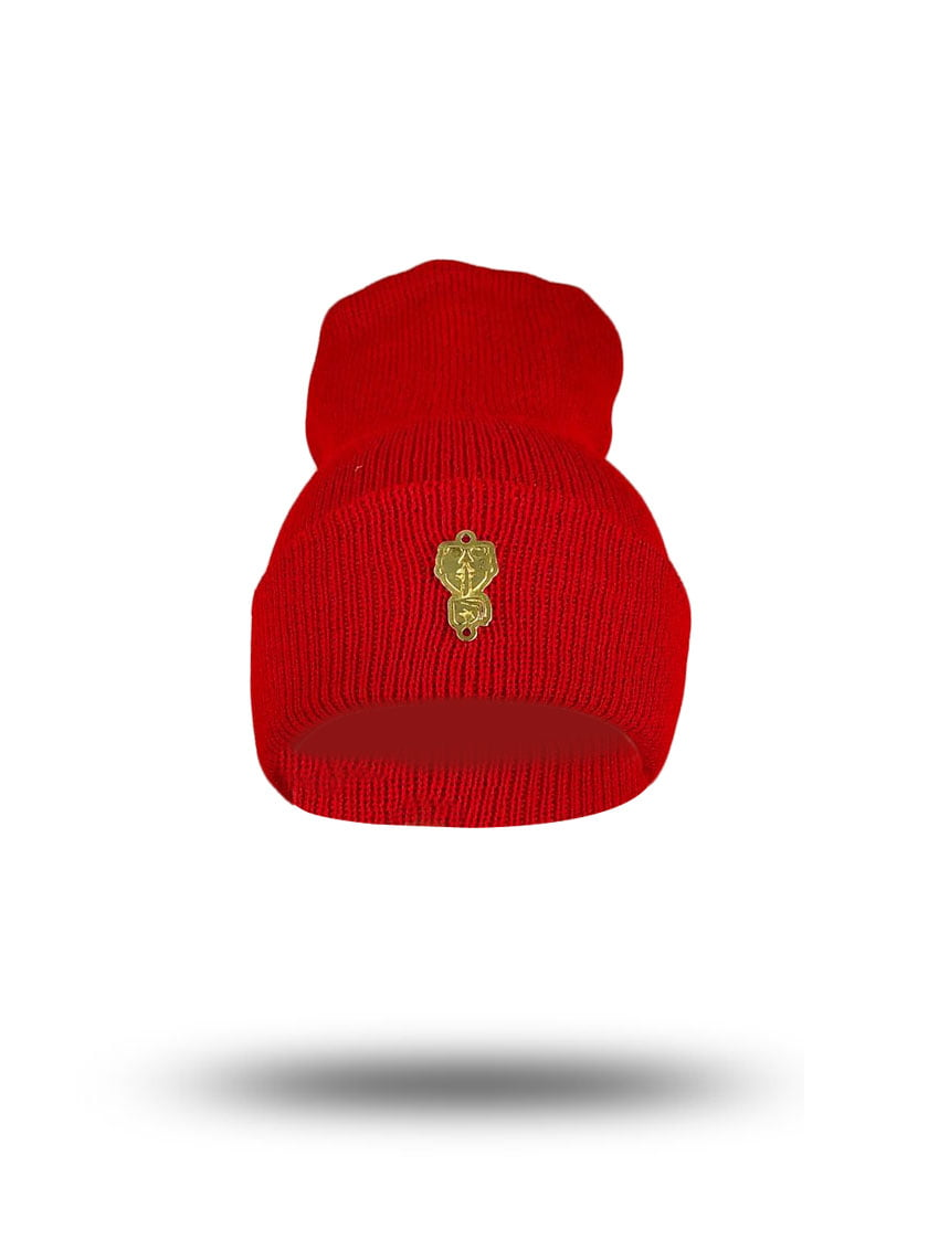 Touca  gorro lã  broche gold