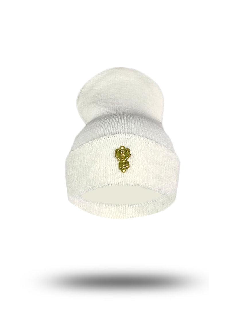 Touca  gorro lã  broche gold
