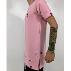 Camiseta longline moletinho destroyed rose