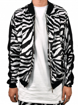Jaqueta bomber estampada veludo zebra