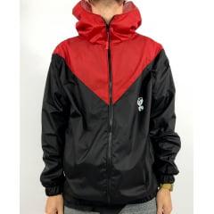 Jaqueta corta vento V preto vermelho