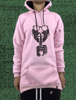 Blusa moletom alongado canguru rosa