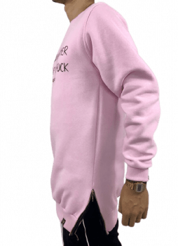 blusa moletom alongado careca rosa