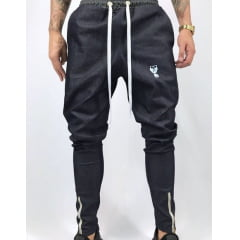 Calça jogger jeans brim   zipper canela