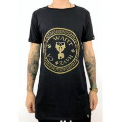 Camiseta longline estampa Brasão