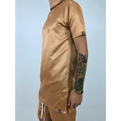 Camiseta longline drop bronze