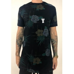 Camiseta longline  floral dark edition limited