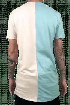 Camiseta longline metade tom pastel
