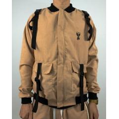 jaqueta bomber cargo suede fitas