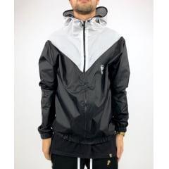 Jaqueta corta vento V preto branco