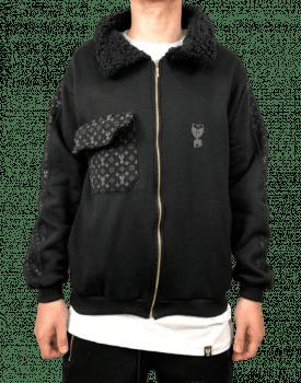 Jaqueta exclusive com faixas gola carneiro all black